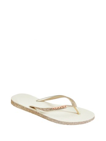 Havaianas Beige Slim Sparkle Flip Flops