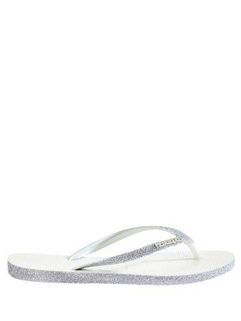 Havaianas White Slim Sparkle Flip Flops