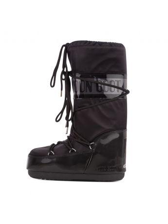 Moon Boot Black Icon Glance Satin Boots