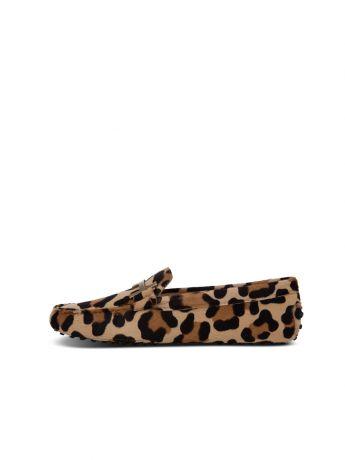 Tod's Brown Animal Print Loafers