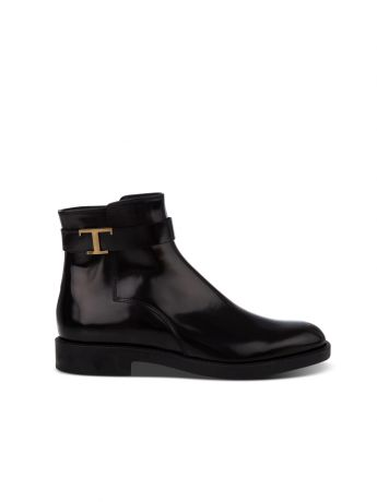 Tod's Black Leather Timeless Ankle Boots
