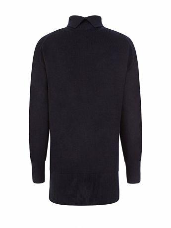 Joseph Navy Soft Wool High-Neck Jumper