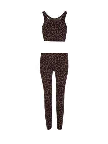 Varley Brown Tort Leopard Luna Leggings
