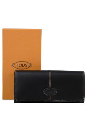 Tod's Black Leather Logo Purse