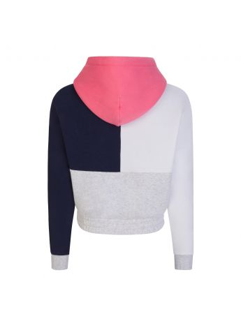 Tommy Jeans Grey Colour Block Cropped Hoodie