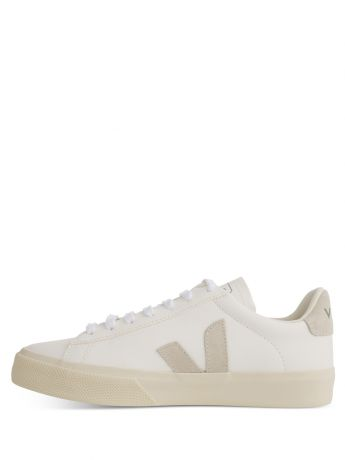 VEJA White/Grey Leather Campo ChromeFree Trainers