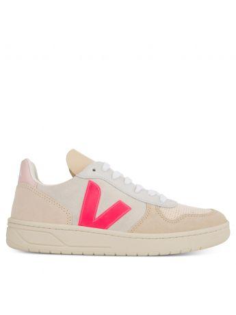 VEJA Natural/Pink V-10 Suede Trainers
