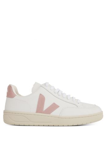 VEJA White/Pink Leather V-12 Trainers