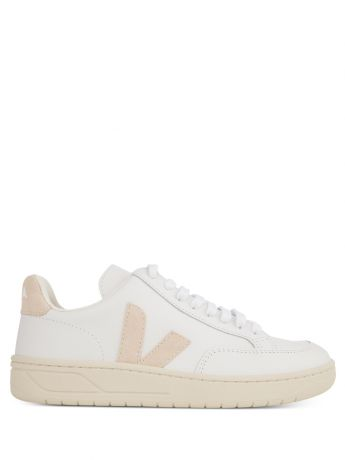VEJA White/Beige Leather V-12 Trainers