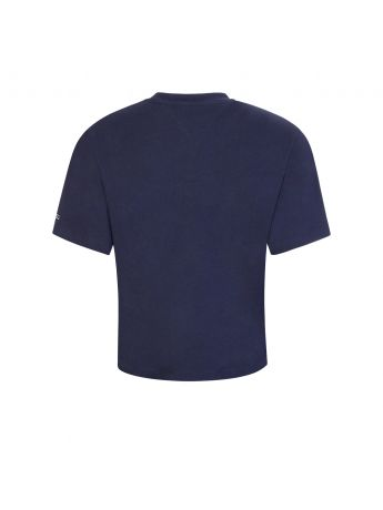 Tommy Jeans Navy Boxy-Fit Cropped T-Shirt