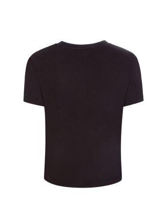 Tommy Jeans Black Organic Cotton Heart Flag T-Shirt