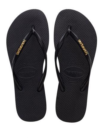 Havaianas Black Slim Fit Gold Logo Flip Flops