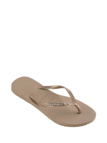 Havaianas Rose Gold Slim Fit Crystal Flip Flops