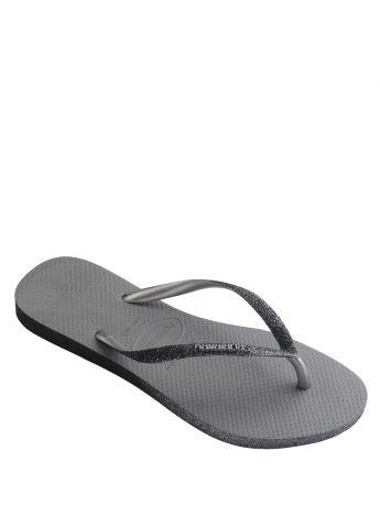 Havaianas Grey Slim Fit Sparkle Flip Flops