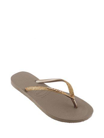 Havaianas Gold Slim Fit Glitter Flip Flops