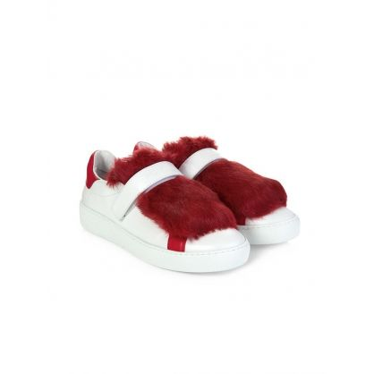 Red Lucie Fur Trainers