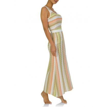 White/Gold Stripe Maxi Skirt