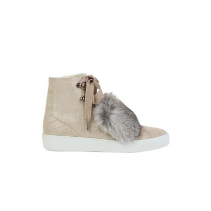 Tan Lucille Fur Hi Trainers