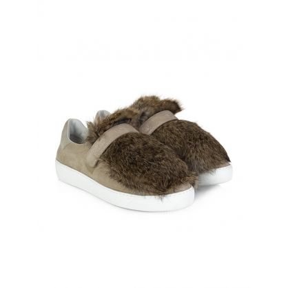 Tan Lucie Fur Trainers