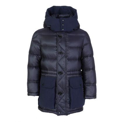 Navy Jourdan Hooded Puffa Coat