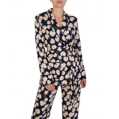 Navy Braelyn Leaf Kimono