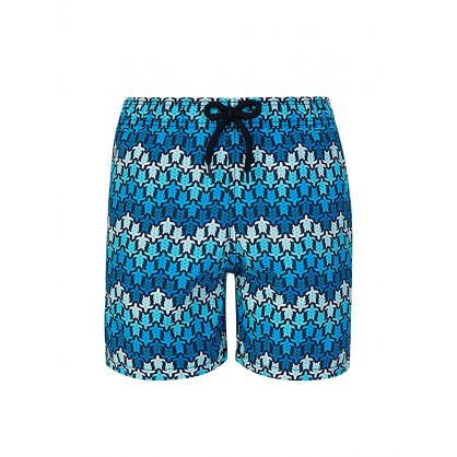 Junior Blue Herringbones Turtles Swim Shorts
