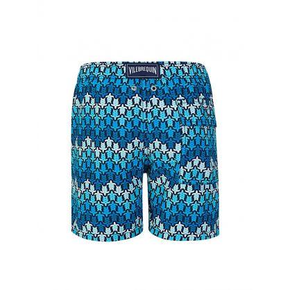 Junior Blue Herringbones Turtles Swim Shorts