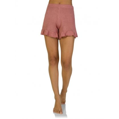 Pink Lurex Frill Edge Shorts
