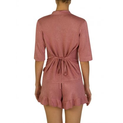 Pink Lurex Tie Twist Top