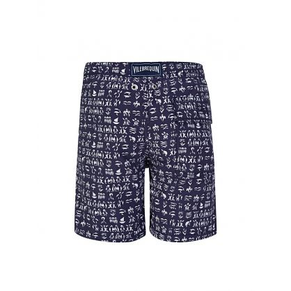 Junior Navy Fortune Teller Turtles Swim Shorts