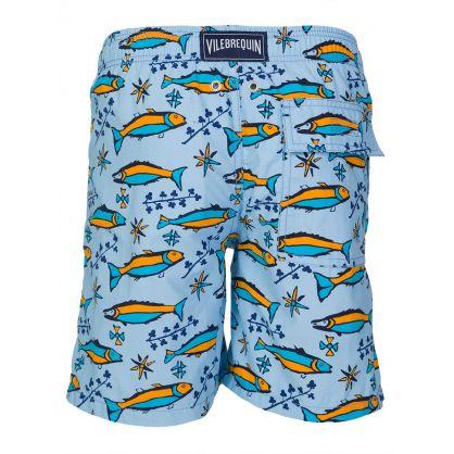 Junior Sky Blue Fish Swim Shorts