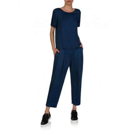 Navy Hillary Pleat Trousers