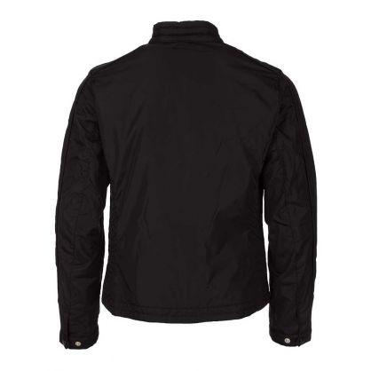 Black Nylon Zip Up Biker Jacket