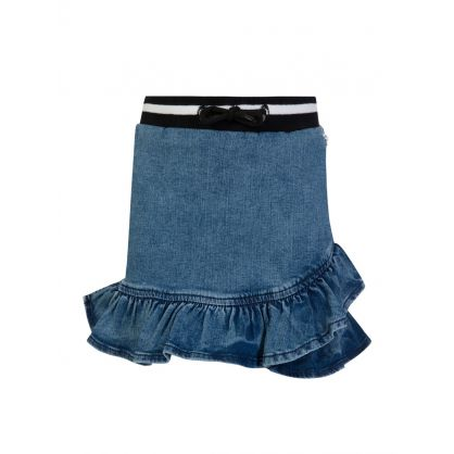 Kids Blue Denim Ruffle Skirt
