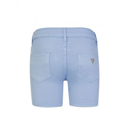 Kids Blue Cotton Turn Up Shorts
