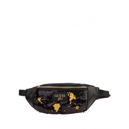 Kids Black Reversible Sequins Logo Waist Bag