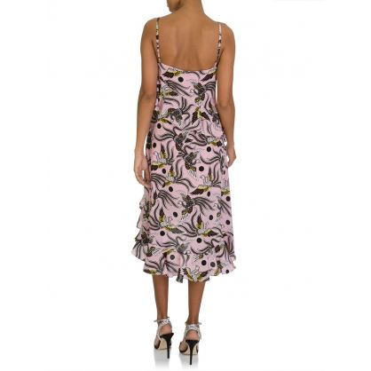 Pink Silk Print Dress