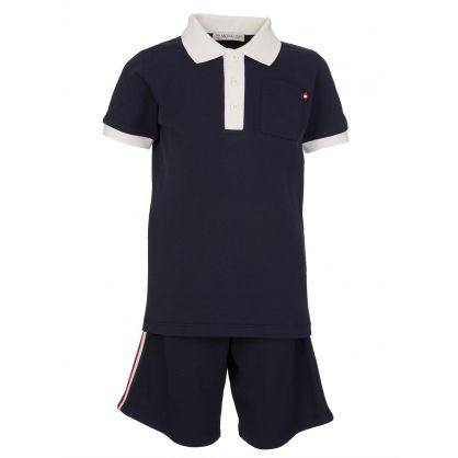 Navy Polo Top And Short Set