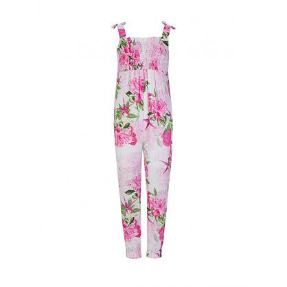 Kids Pink Floral Jumpsuit