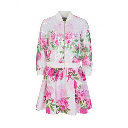 Kids Pink Floral Midi Skirt