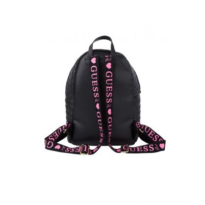 Kids Black Padded Heart Backpack