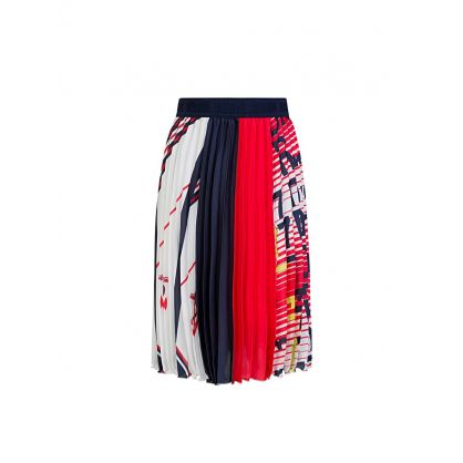 Kids Red/White Pleated Logo Skirt