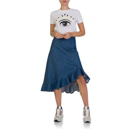Denim Fluted Skirt