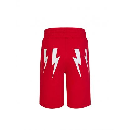Kids Red Thunderbolts Sweat Shorts