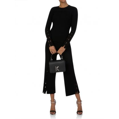 Black Knitted Lace Hole Trousers