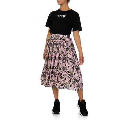 Pink Printed Pleated Asymmetric Midi Skirt