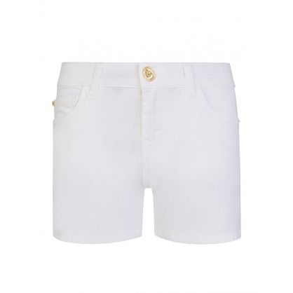 Junior White Medusa Button Shorts