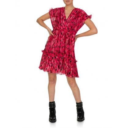 Fuschia Pleated Peonie Dress