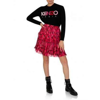 Fuschia Peonie Pleated Mini Skirt