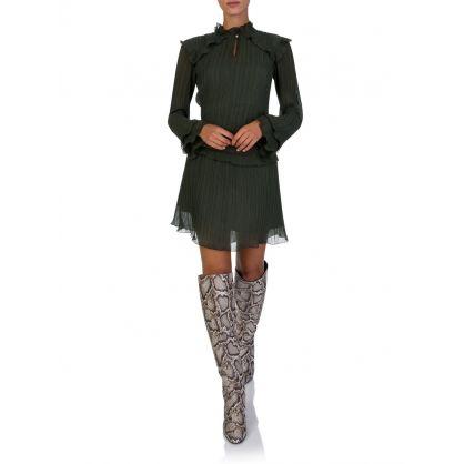 Green Soft Long-Sleeved Dress